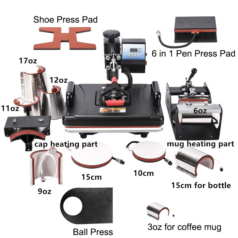 RubySub 14 in 1 Heat Press Machines T shirt Printing Machine Sublimation Machine For Pen/Mug/Ball/Shoes