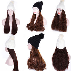 Fashion long curly hair synthetic wig winter elastic winter warm knitted hat girl knitted ski hat