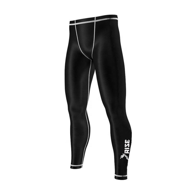 Logo Customization [ Black ] Black Tights Mma Custom Logo Black Bjj Mma Compression Pants Leggings Tights