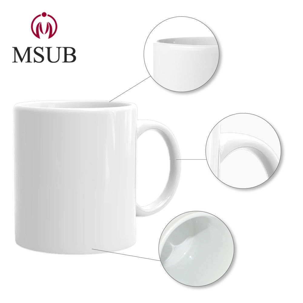 Promotional white ceramic coffee cups wholesale sublimation mug 11oz blank products cheap cup