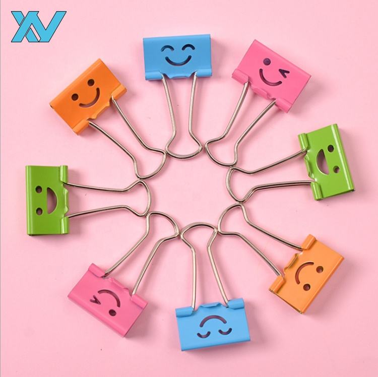 smile metal colorful binder clips