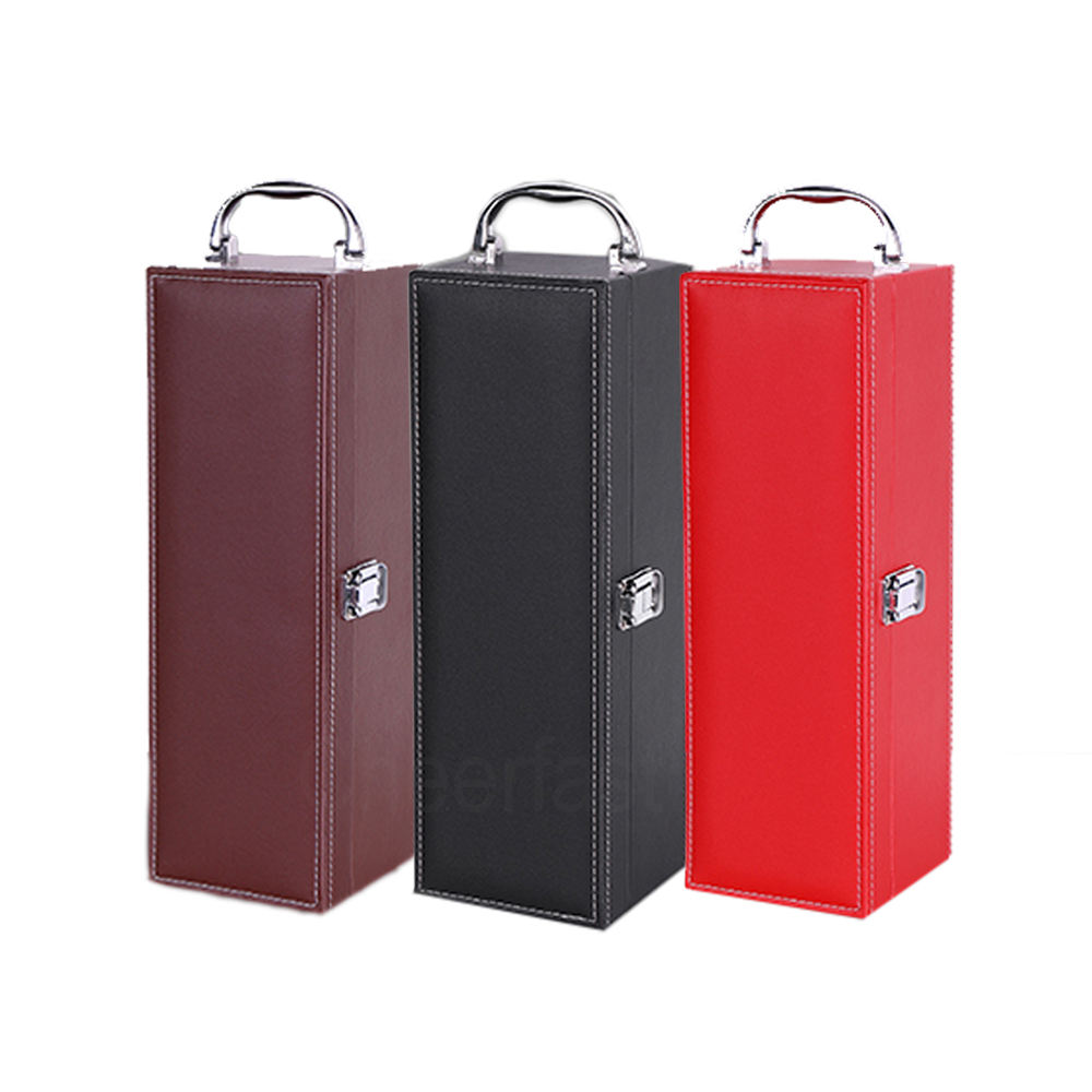 Hot Stamping Logo PU Leather Wine Bottle Box Pu Leather Bottle Box Bottle Box Wine