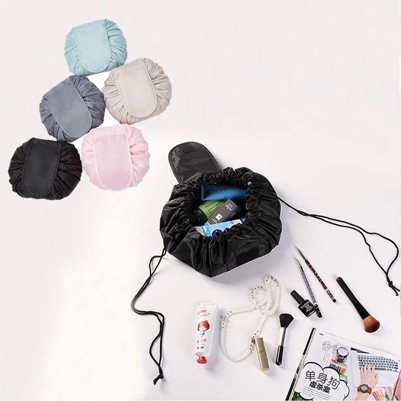 Cosmetic Makeup Bag with Drawstring Womens Portable Travel Storage Bag Makeup Pouch Organizer