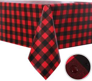 Christmas Black and Red Checkered Vinyl Rectangle Tablecloth 100% Waterproof Oil Spill Proof PVC Table Cloth Cover