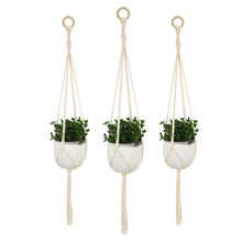 Handmade art 1 pcs cream colored cotton macrame plant hanger for home