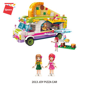 Qman Girl's Game scenario simulation pizza truck diy block toys figures kids for sale compatible legoing