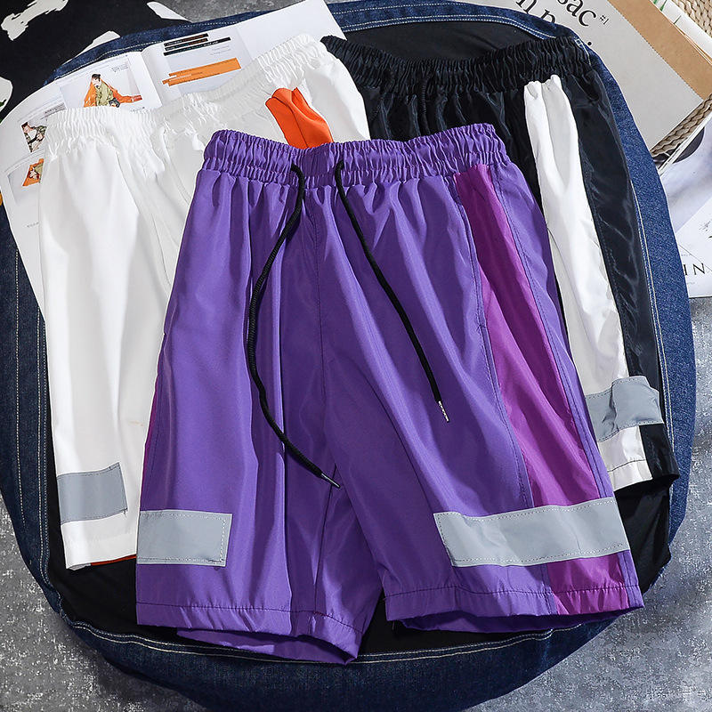 Purple Black New Men Casual Shorts Men's Orange Crossfit Soccer Strip Trend Shorts White Short Male Sweat