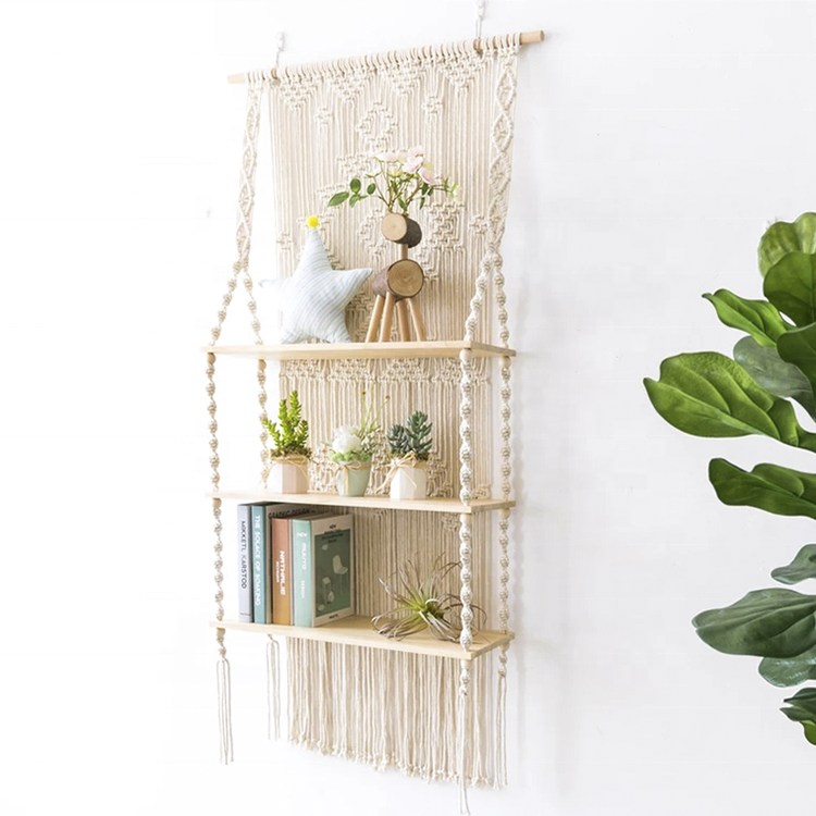Macrame triple de madera estante de pared decorar tapiz