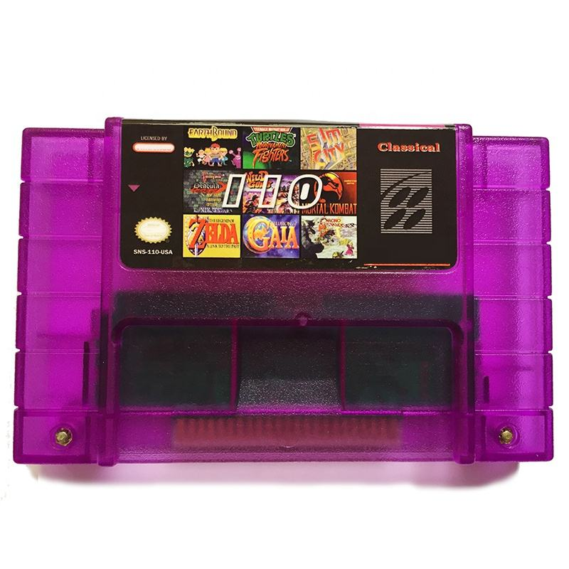 In Stock Purple Shell Battery Save 110 in 1 SNES Video Game Console Game Cards Other Game Accessories