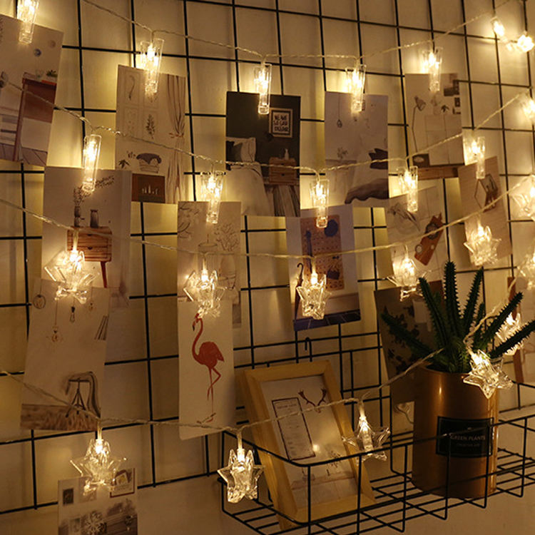 Transparent Cable LED Fairy Lights Inside Clear Photo Clips String Lights USB remote Powered led clip string light