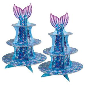 Buzzy party supplies disposable 3 Tier paper cardboard mermaid party decoration paper cupcake cake stand