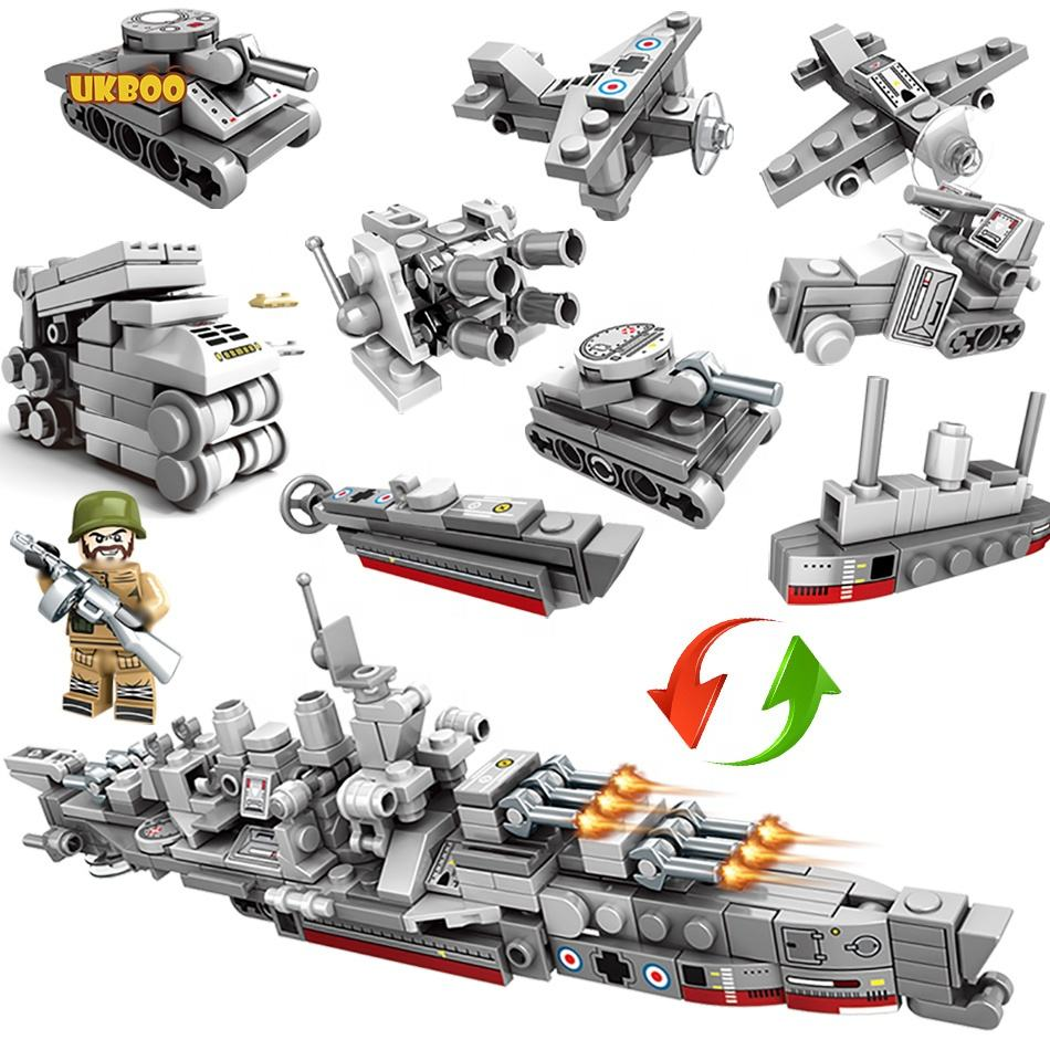 240 Pcs Enlighten Military Warship Toy 8in1 Coast Guard Aircraft Carrier Building Block Set with solider figures