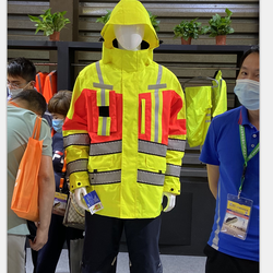 100% polyester 300D hi-vis fluorescent yellow/orange PU coated FR antistatic waterproof fabric