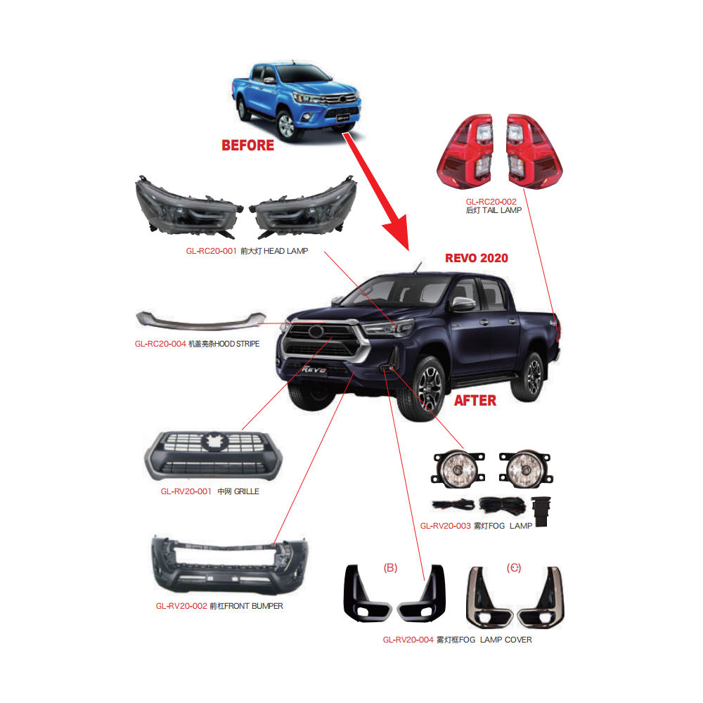 Hot selling auto bodykit car front bumper body kit for toyota hilux old revo upgrade to new