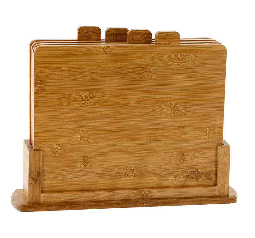 Factory 4 pcs natural organic bamboo cutting board set with non-slip base hold stand