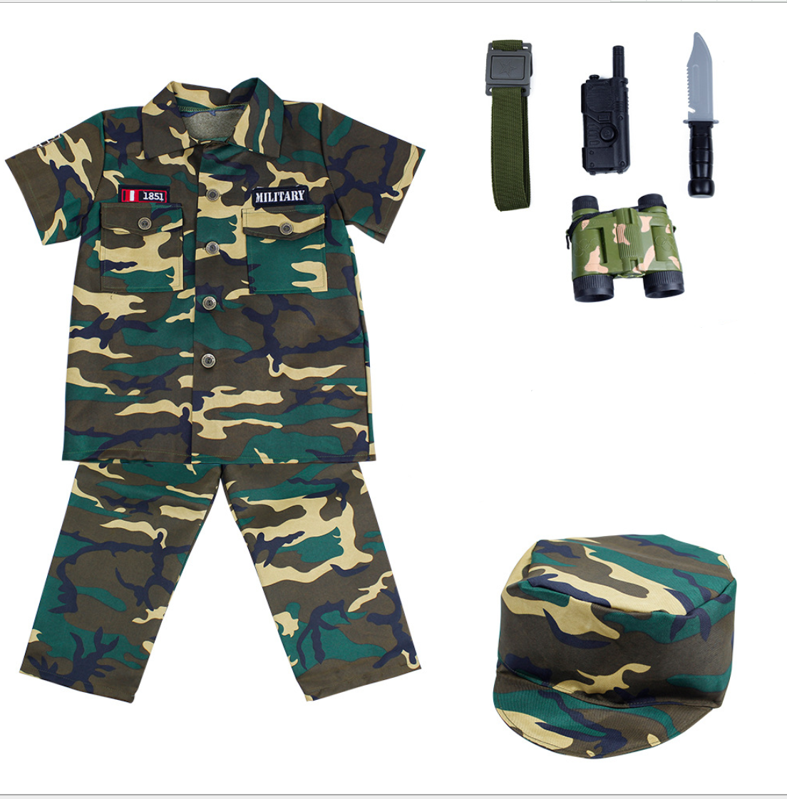 Custom army uniform kids costume with accessories wholesale military costume for kids