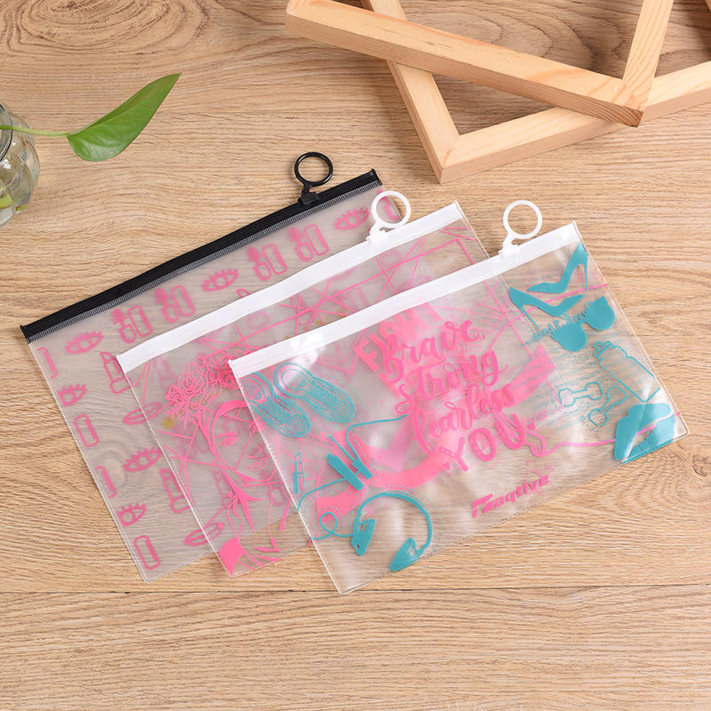 New design waterproof matte unicorn frosted customized logo transparent clear pvc ziplock cosmetic makeup bag