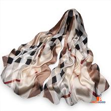 100% Silk Scarves Fashion Luxury Women Long Head Silk Scarf Check Pattern Silk Chiffon All Season 180*65cm