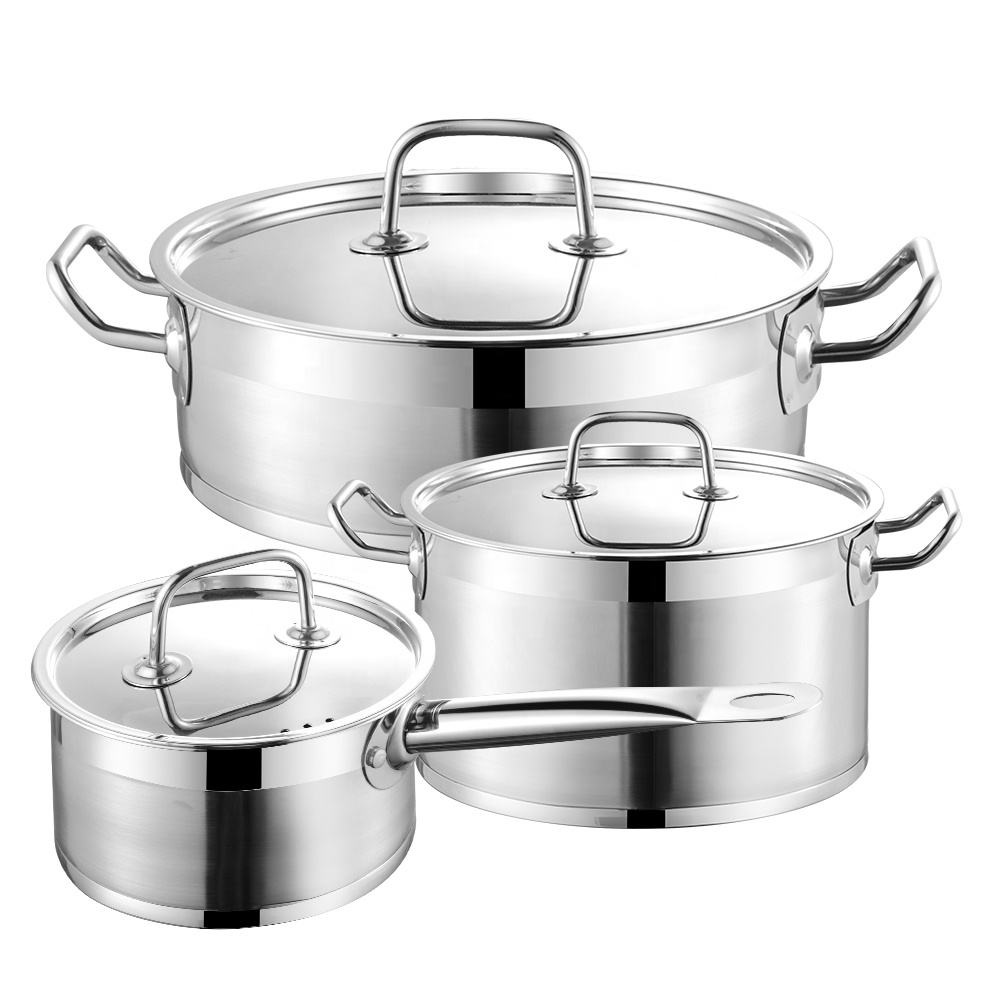 Amazon Hot Sale Kitchenware Non Stick Cookware Cooking Stainless Steel Pot Set