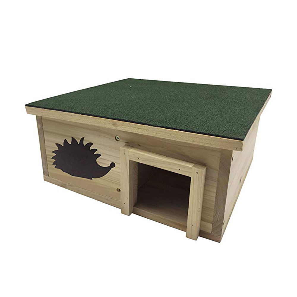 Natural Fir Wood Hedgehog House with Floor and Weatherproof Green Roof Pet Hedgehog Cage Shelter