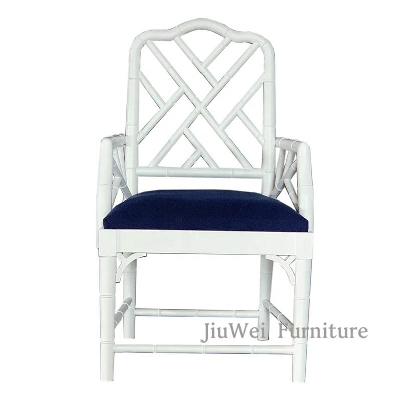 Jiuwei Furniture Popular Hamptons House Dining Room Bamboo Style Chippendale Wooden Arm Chair