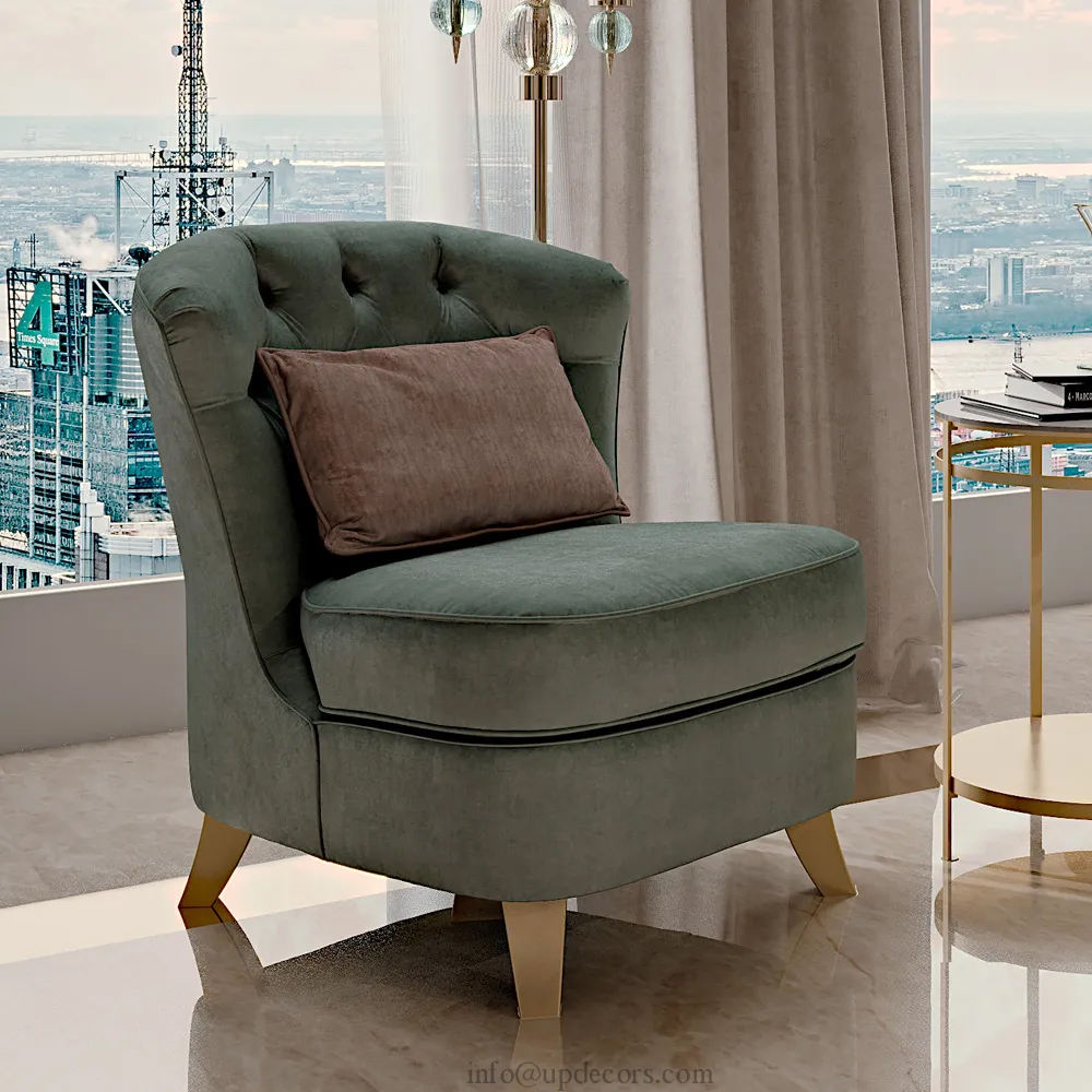 Nordic simple style single chair Best Selling Hotel Leisure Chair Velvet Accent Chair With Gold Legs
