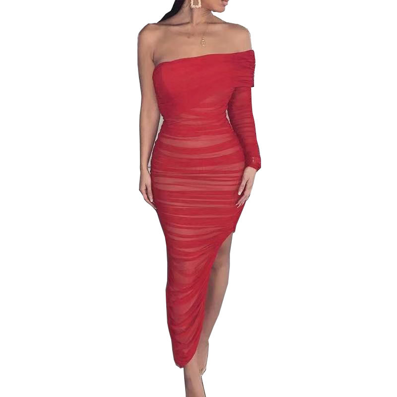 C2049 Rot Frauen Club Wear Liebsten Mode Mesh Verband kleid Sexy Midi Off Schulter Slit Bodycon Verband Kleid