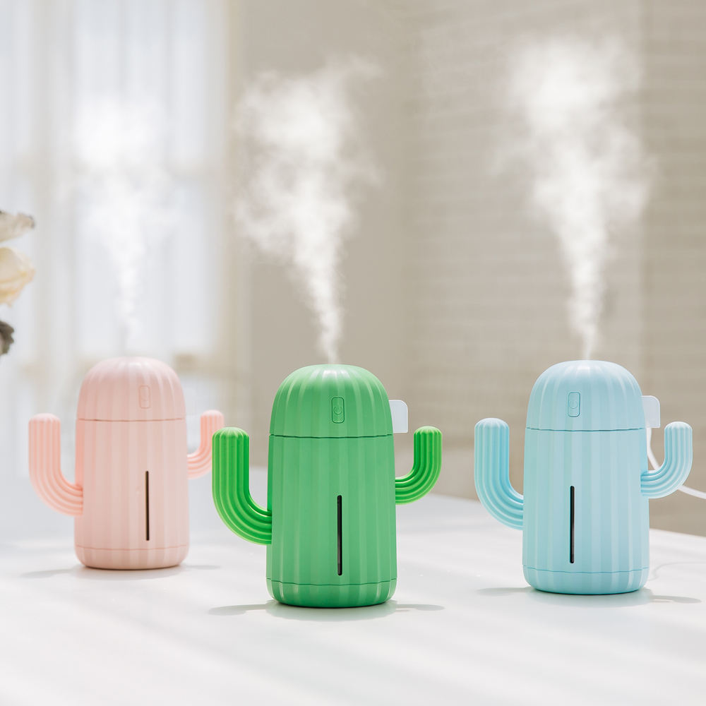 340 ML Cactus Shape Cool Mist Ultrasonic Humidifier Desktop Aroma Mini Air Humidifier for Home Decor