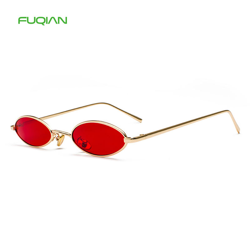 Hip-Hop Small OVal Round Frame Color Party Retro Women Mens Sunglasses