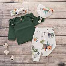 4PCS Newborn Baby Girls Clothes Long Sleeve Green Ruffle Tops Pants Headband Hat Outfit Set Bebes Cute Floral Bodysuits