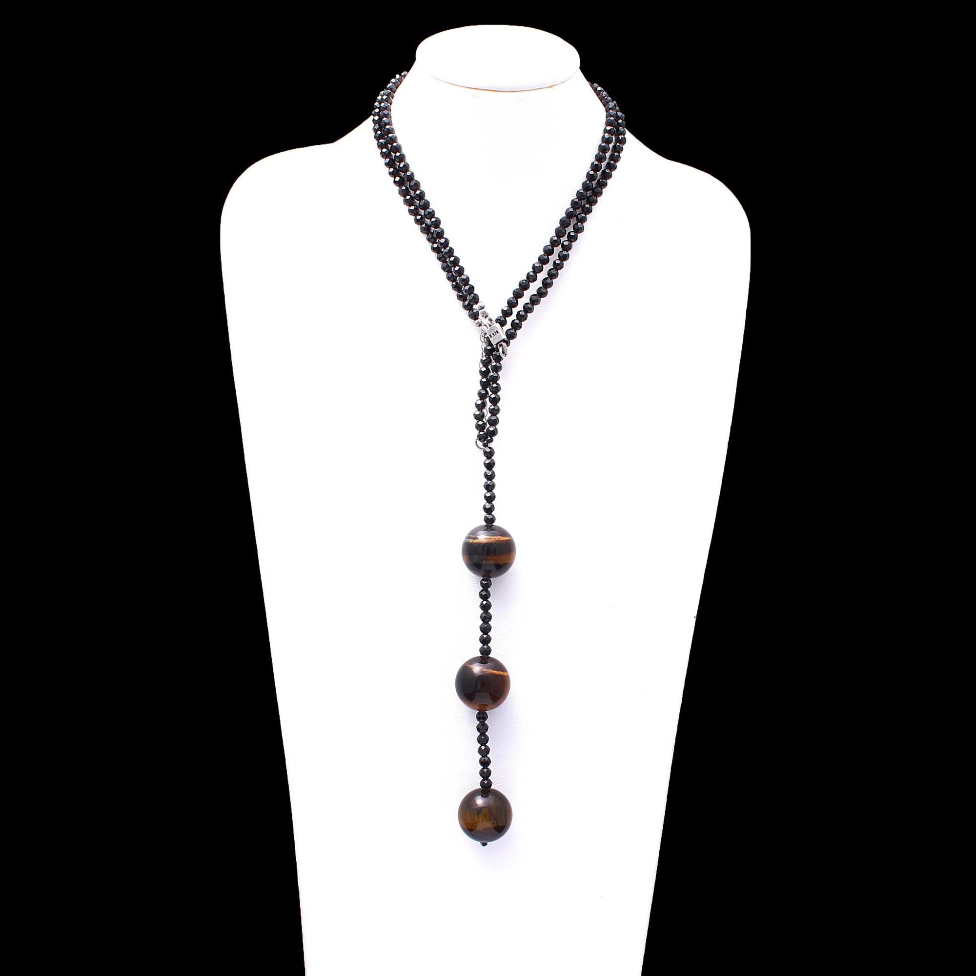 Beautiful Exotic Natural 4ミリメートルBlack Spinel Faceted Round Beads Tiger Eye Ball Handmade Tie Knot Style Gemstone Necklace