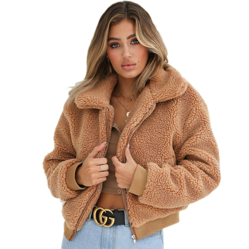 New Collection Women Winter Plain Pocket Zipper Sherpa Fleece Heated Teddy Jacket