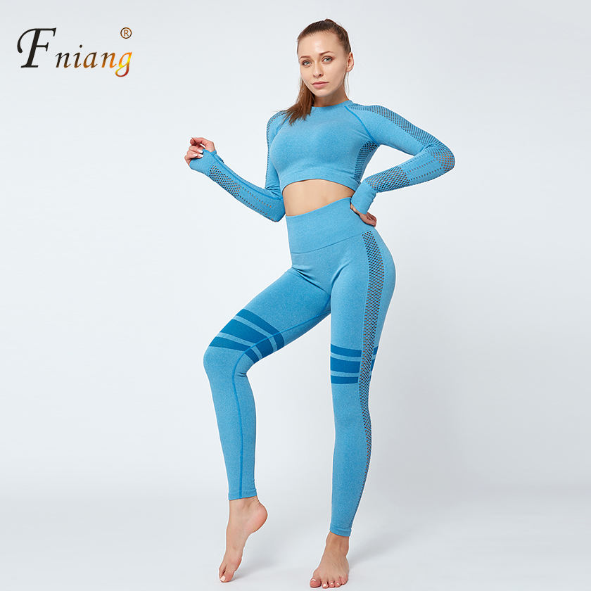 Womens 2020 yoga sets long sleeved yoga clothes high elasticity high waist tight hips sports fitness two piece sport wear