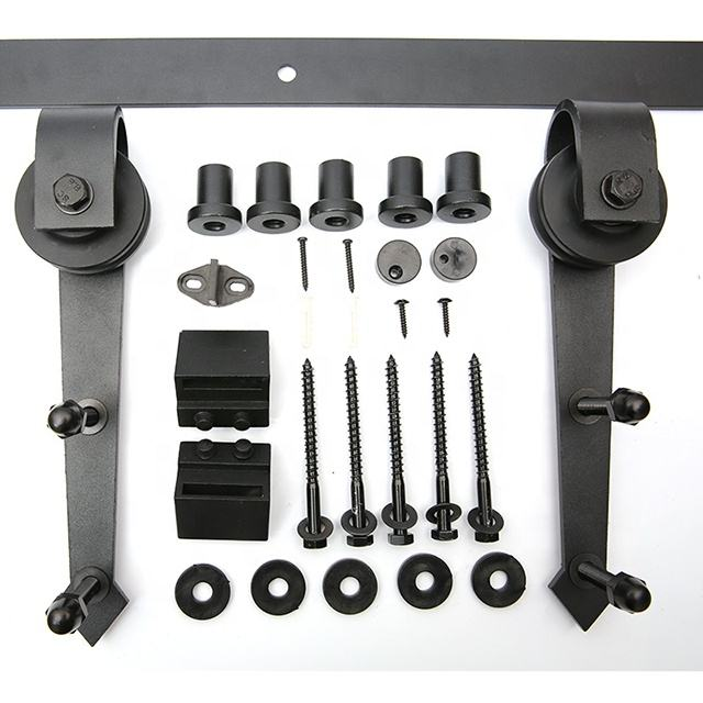 Black Finish High Quality Carbon Steel Sliding Barn Door Hardware Roller Track Kit Soft-Off Kit