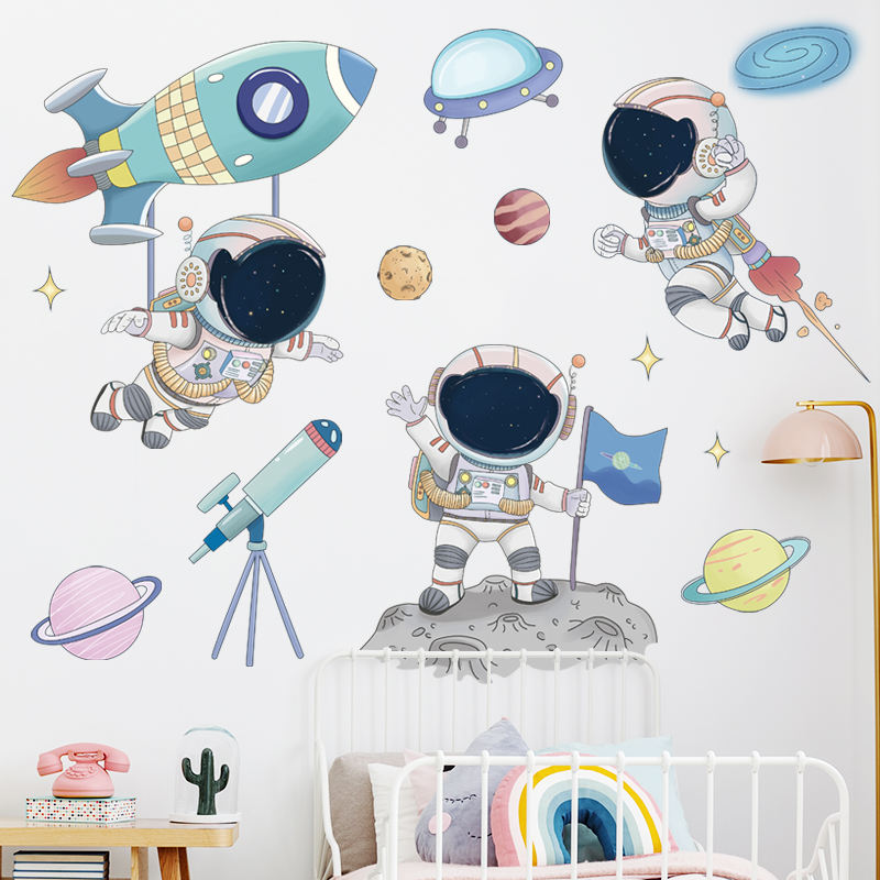 2021 trending products DIY Home Wall Decoration Sticker For Boys Kids Room Decor Planets and Spaceman Sticker For Bedroom