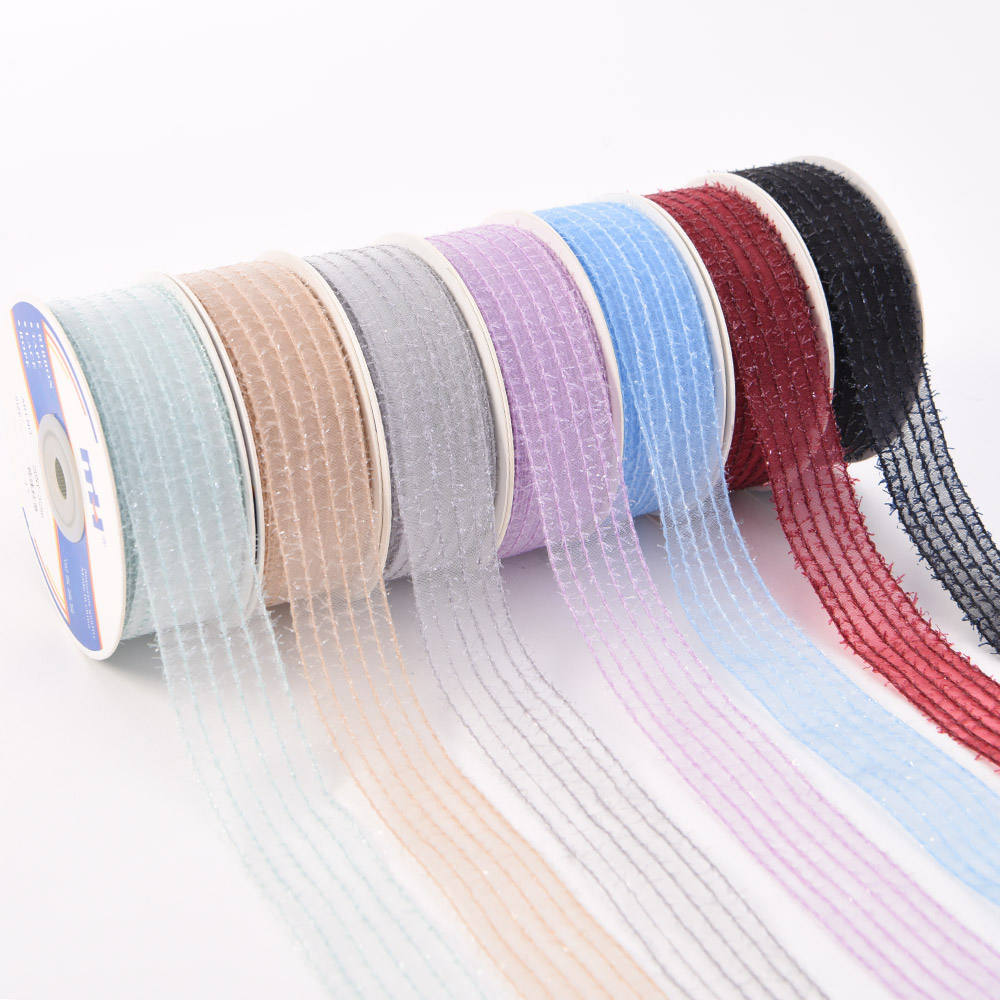 Wholesale Customize Korean Style Chiffon Ribbon Christmas Transparent Snow Yarn Ribbon for Hair Bow/Gift Packing