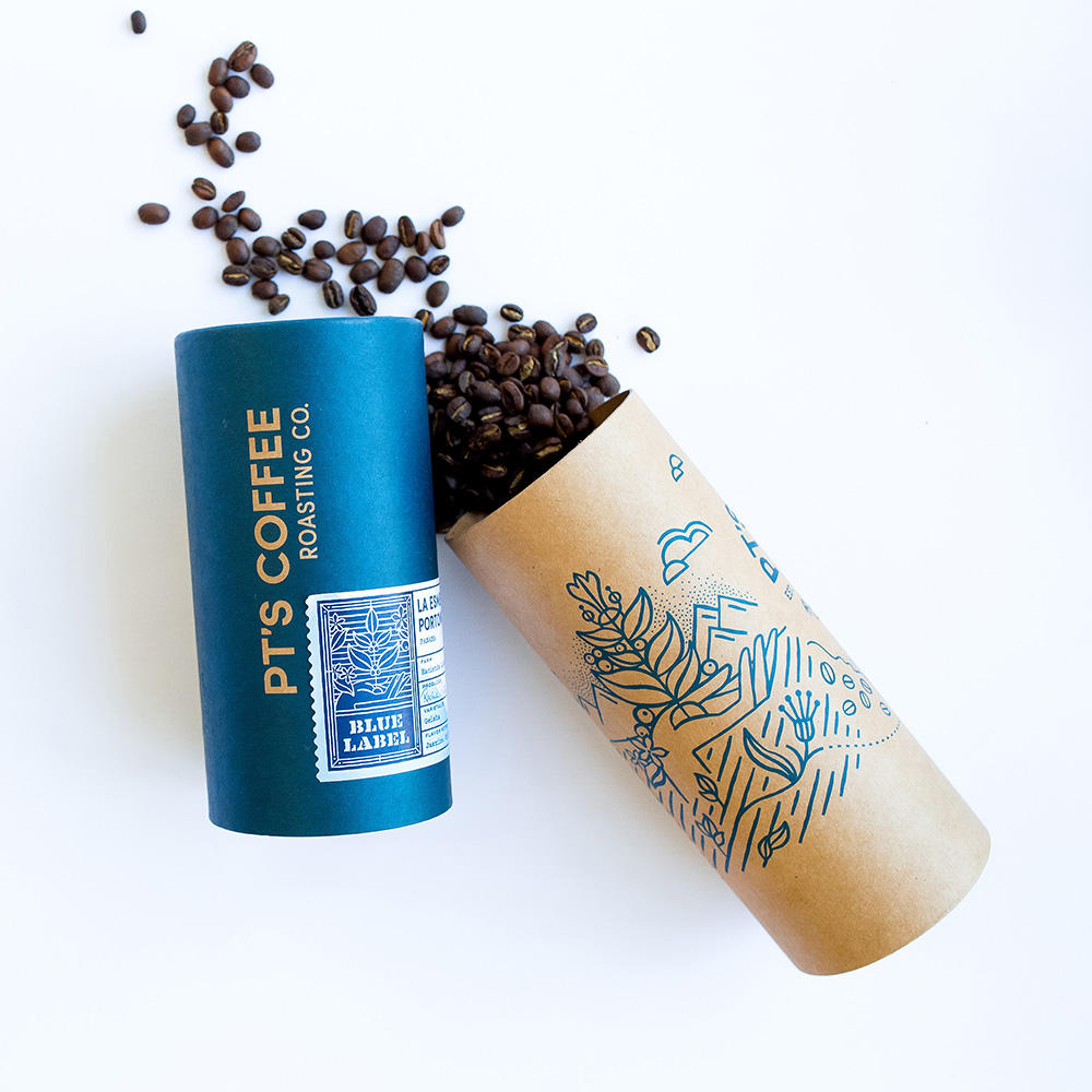 Biodegradable Paper Tube Coffee Package Cardboard Cylinder Boxes Kraft Paper Roasting Coffee Tube with Customized Logo Printing