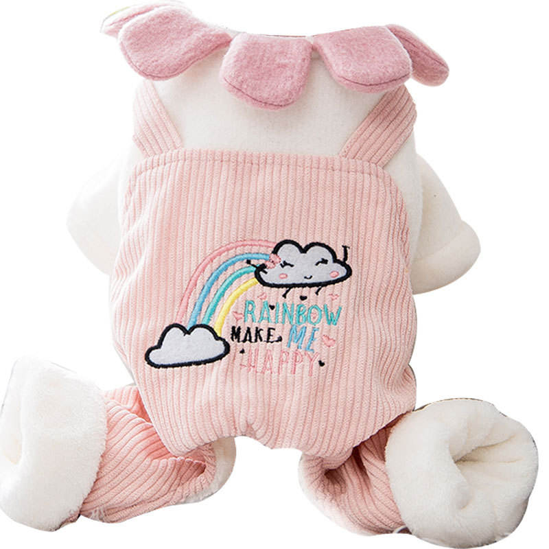 New release pink dogs thickened warmth display cat pet clothes dog cartoon four-legged cotton coat for small and medium