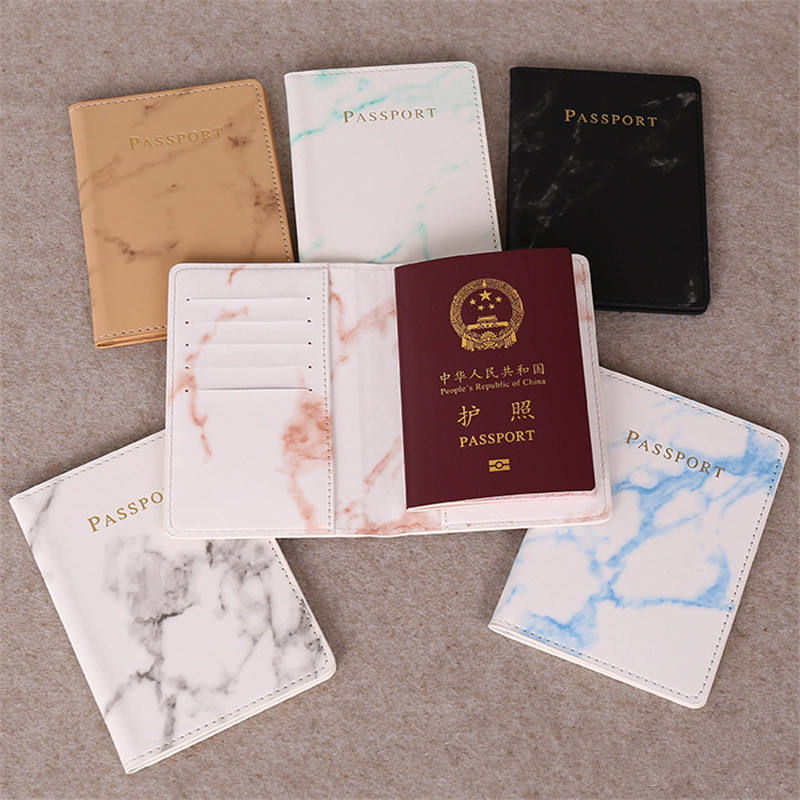 Fashion Cute Marble Pattern Passport Cover Women PU Leather Women Travel Passport Holder Designer Covers on The Passport