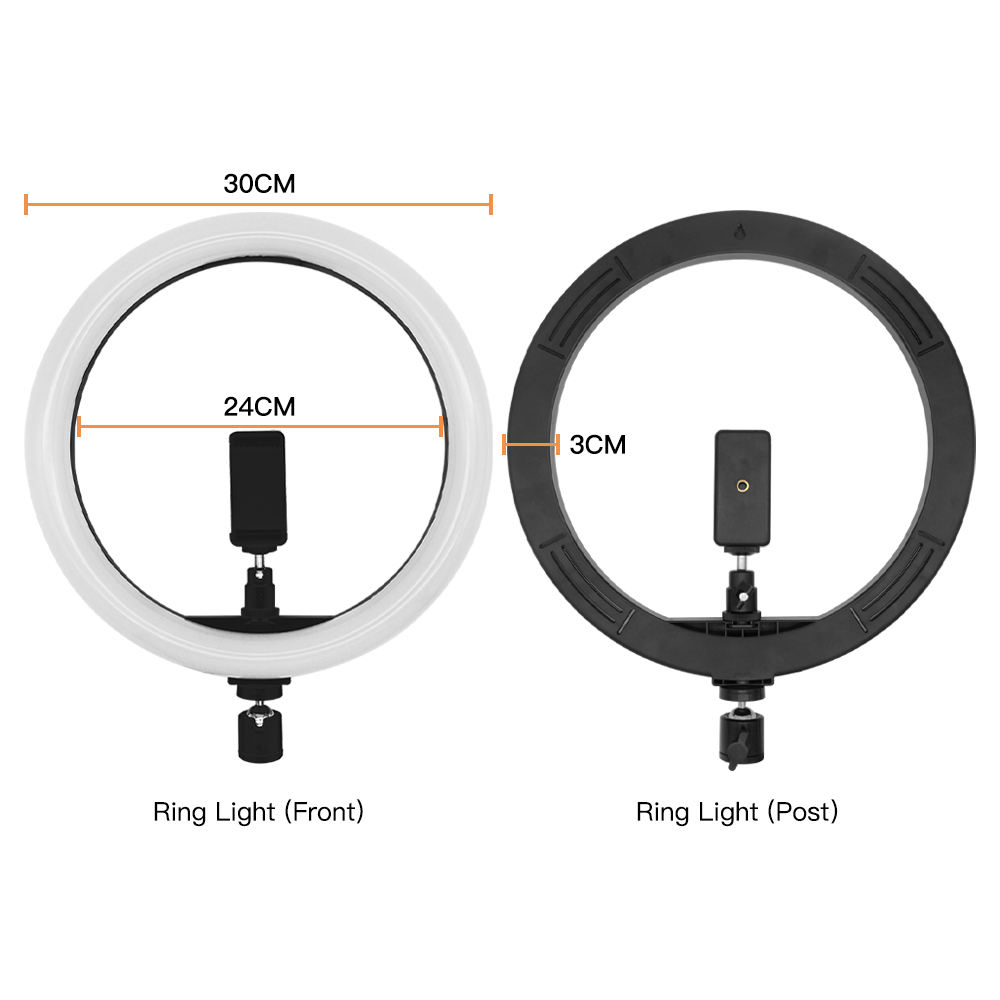 Travor 12 inch led ringlight 3 color modes portrait photographic fill lighting live beauty make up ring light