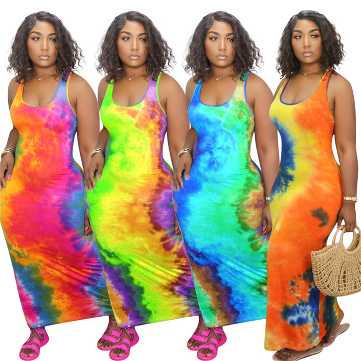 W7214 new arrivals 2020 women clothing fashion Printed Sleeveless casual dresses plus size