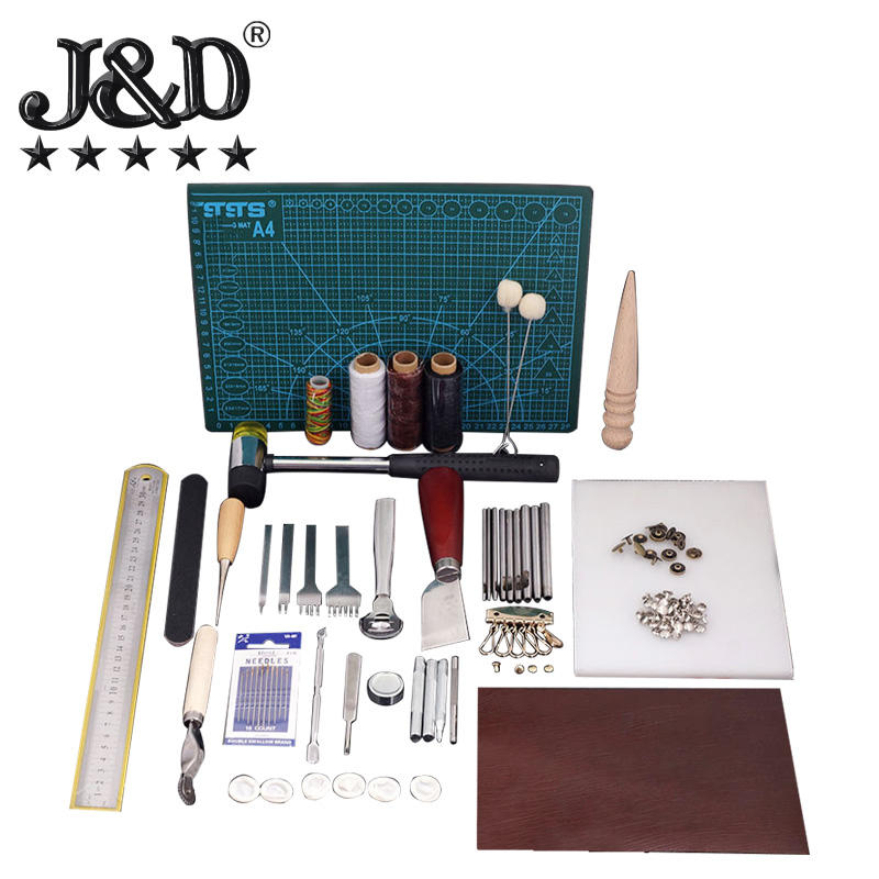 Ontwerp No.15 Lederen Gereedschap Kit Diy Tool Entry Level Hand Naaien Set Diamond Leather Craft Gereedschap Kit 44 Pcs