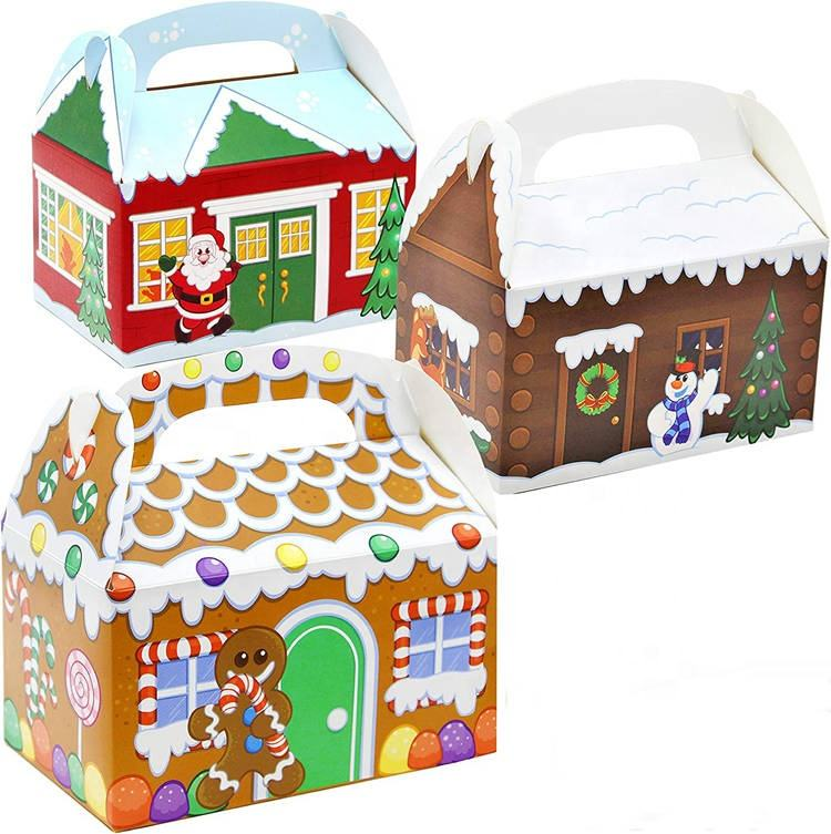 Christmas House Gingerbread Man Paper Treat Boxes