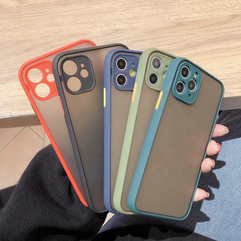 IVANHOE Shockproof Bumper Armor Phone CaseためiPhone 11 Pro 2019 XR XS Max X 10 8 7 Plus SE 2020 Case Translucent Hard PC Cover
