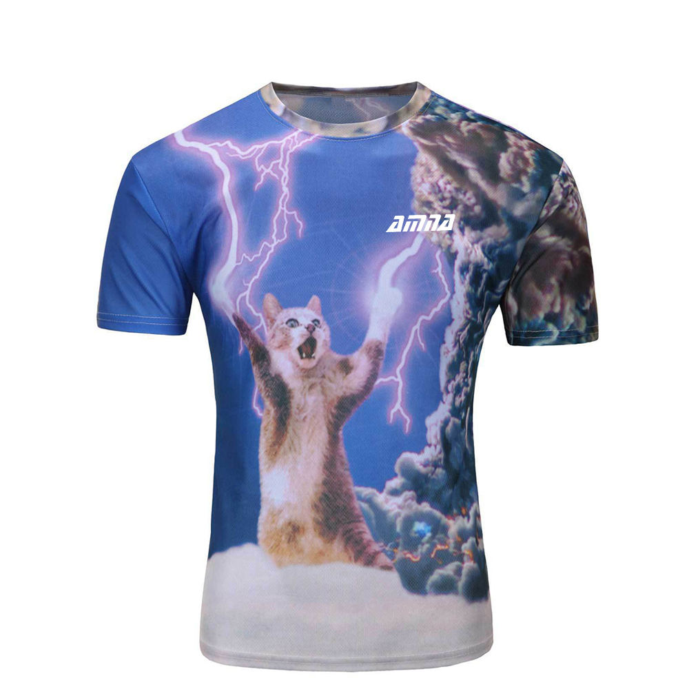 Professional Cat Sublimation T Shirt Pullover Short Sleeve Street Wear Men T Shirt