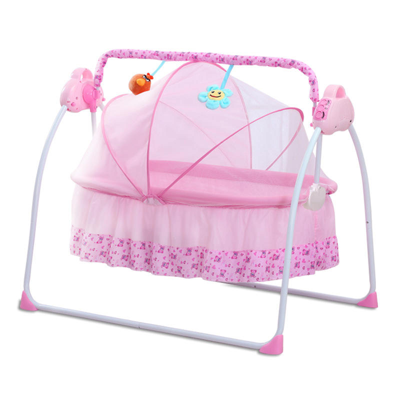 Newborn Baby Electric Cradle Bed, Charged Baby Rocking Chair With Mosquito Net