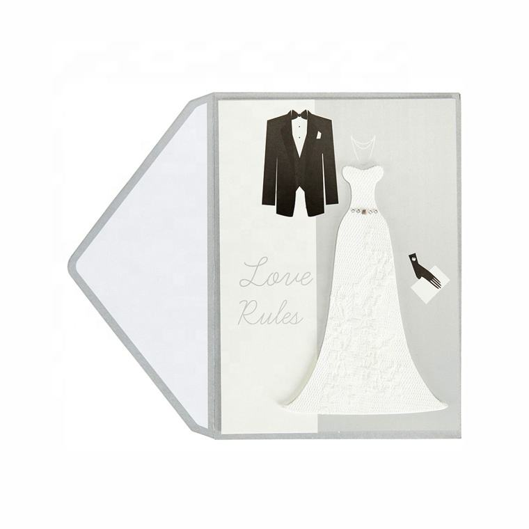 Wholesale 3D Custom Handmade, Wedding Suit Party Invitation Greeting cards