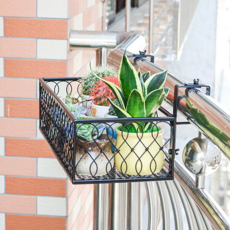 Balcony hanging metal flower pot stand plant stand balcony storage flower stand