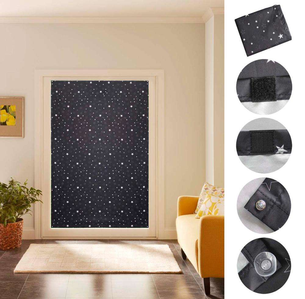 Moon and Star Printed Temporary Blinds Portable Blackout Suction Cup Travel Curtain