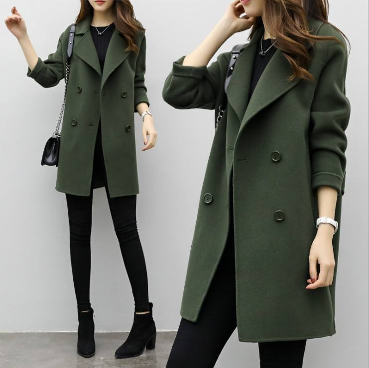 Women fashion double-breasted turn-down collar loose Wool Jacket Winter Parkas Outerwear